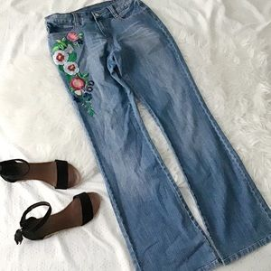 Boot Cut Embroidered Jeans // Boston Proper